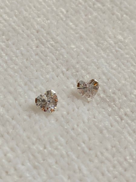 CZ Heart Stud Sterling Silver Earrings