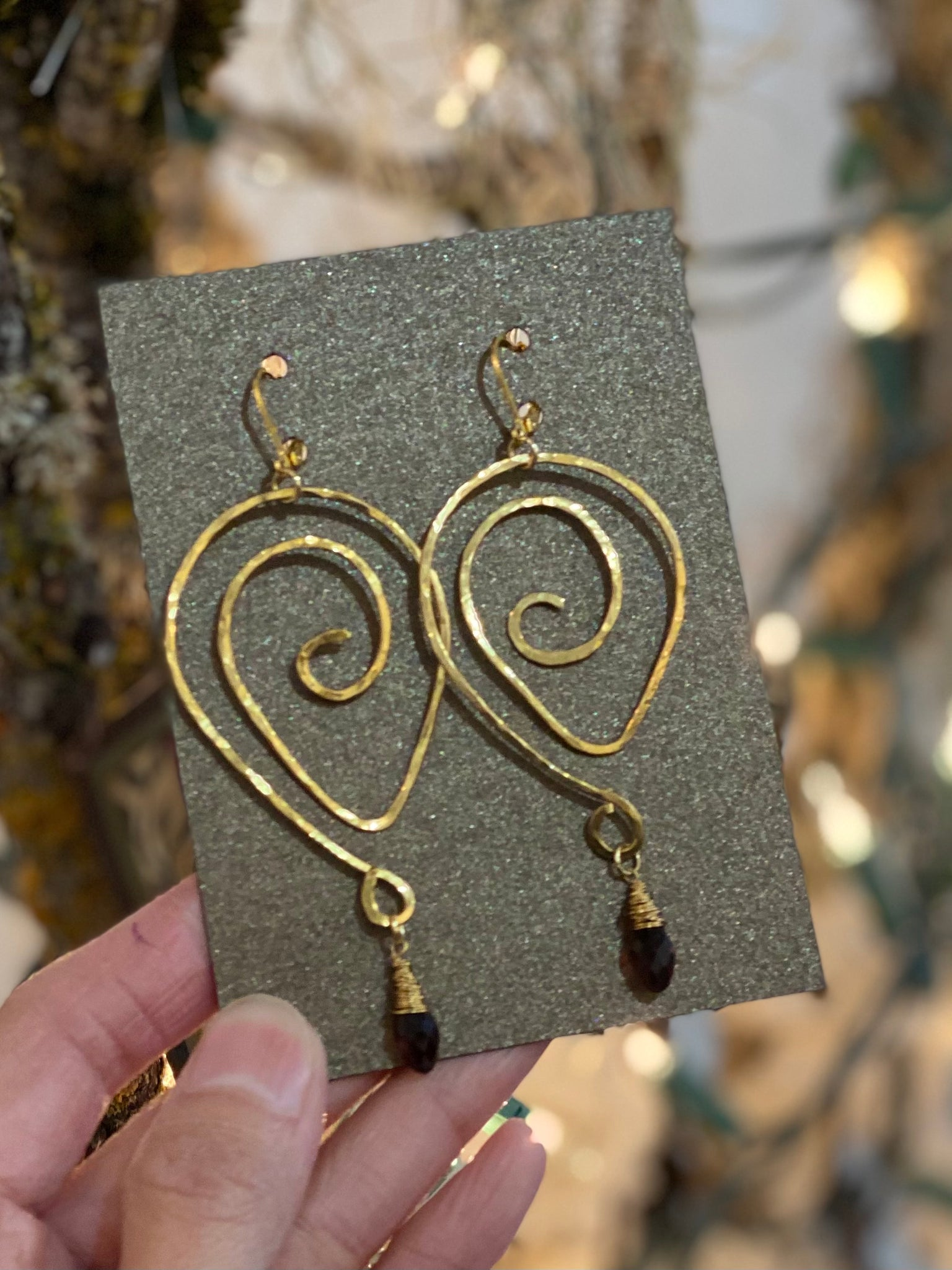 Hand Wrapped Swirly Gold with Topaz Long Earrings Made in PDX