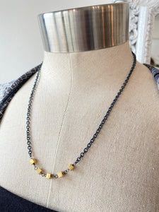 Oxzidized Sterling Silver Chain with Square Gold Cubes Necklace