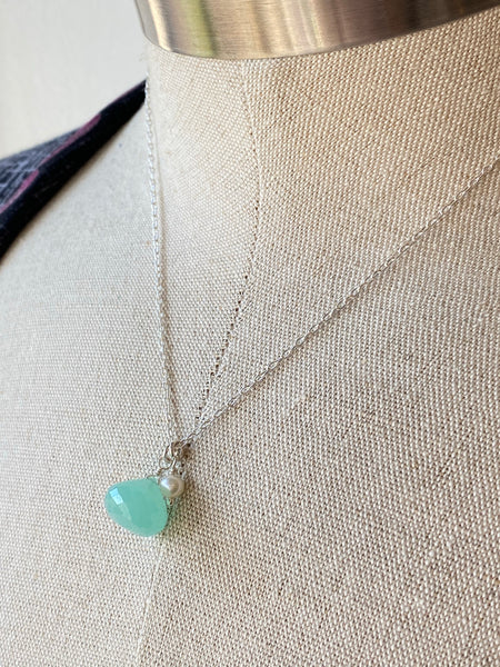 Aqua Chalcedoney Pendant on Sterling Silver Necklace Made in PDX