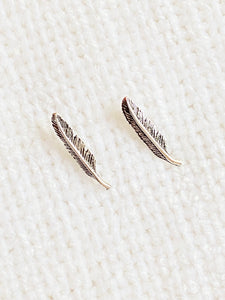 Feather Oxidized 925 Sterling Silver Stud Earrings