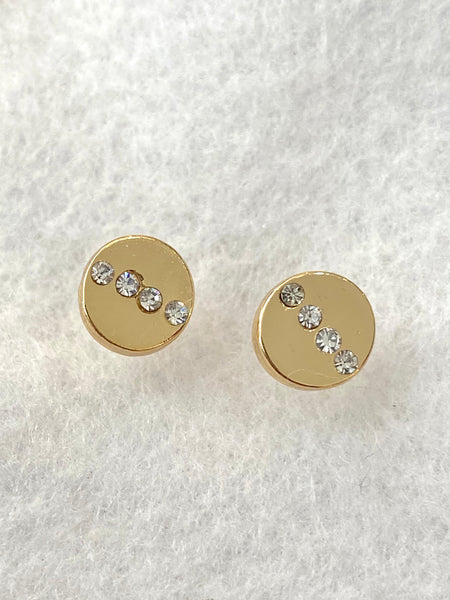 Gold Circle with Cubic Zirconia Accent Stud Earrings