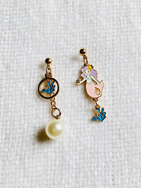 Mismatched Mermaid Dangle Drop Stud Earrings