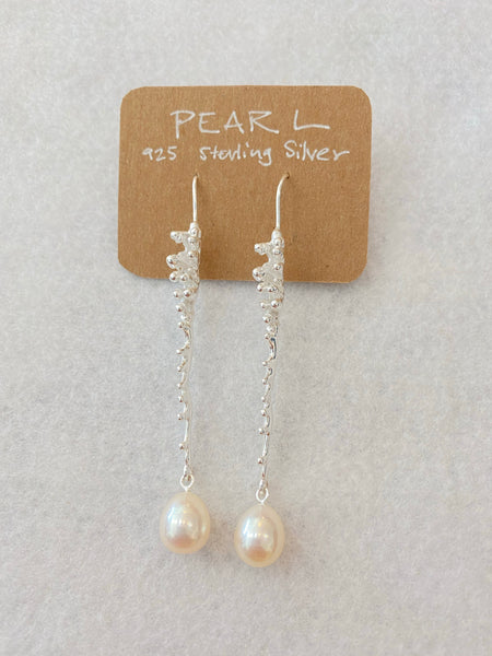 Modern Long  Sterling Silver with Pearl Drop Earrings