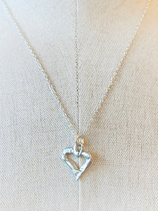 Die Cut Shape Heart Charm on Sterling Silver Necklace