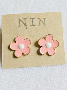 Delicate Enamel Flower Stud Earrings