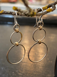 Three Circle Dangle with Tiny Gold Hoop Link Earrings Made in PDX