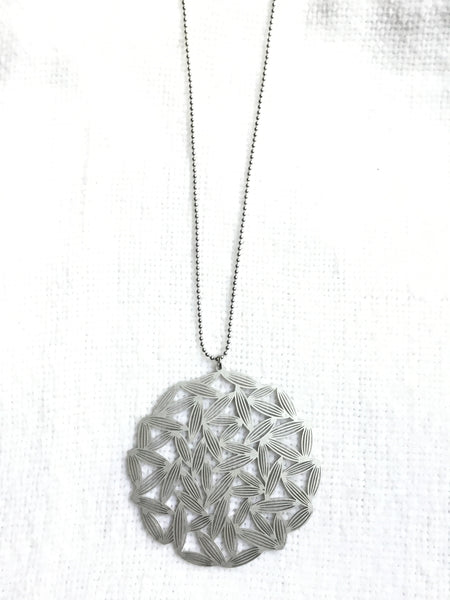 Large Rice Field Pendant with Long Ball Chain Necklace