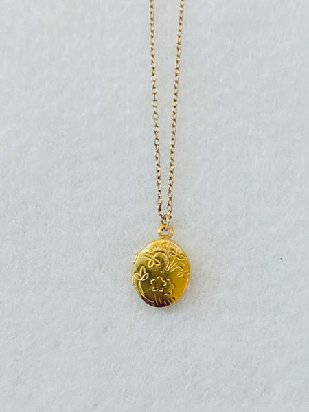 Dainty Gold Etched Round Locket Necklace