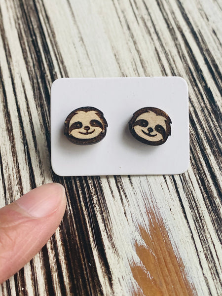 Cute Sloth Stud Earrings Handmade In USA
