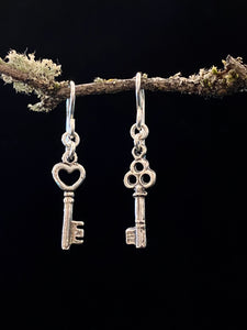 Silver Key To My Heart Earrings Made in PDX