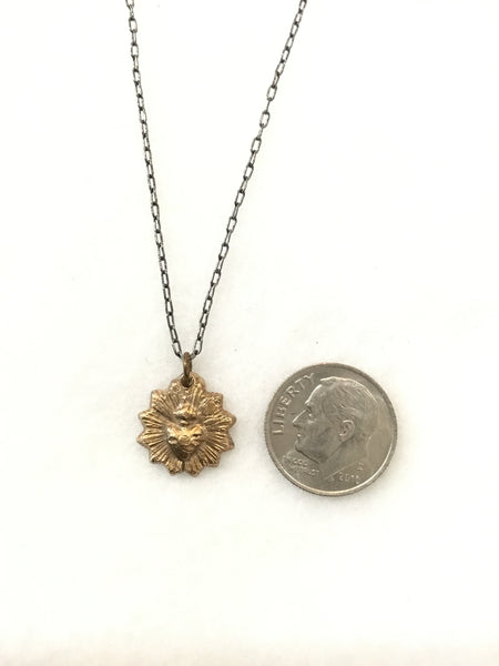 Hand Cast Tiny Bronze Sacred Heart Necklace