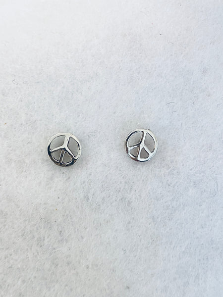 Peace Sign 925 Sterling Silver Stud Earrings