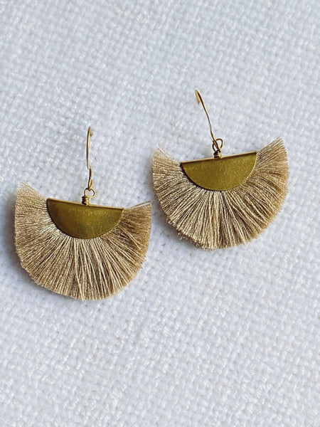 Small Fan Silk Thread Bohemian Earrings