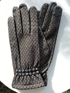 Circle Design Texting Gloves with Gathered Cuff