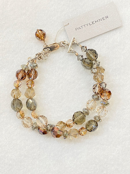 Mix Brown Tone Crystal Bracelet Made in PDX