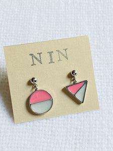 Mismatched Geomatric Dangle Drop Stud Earrings
