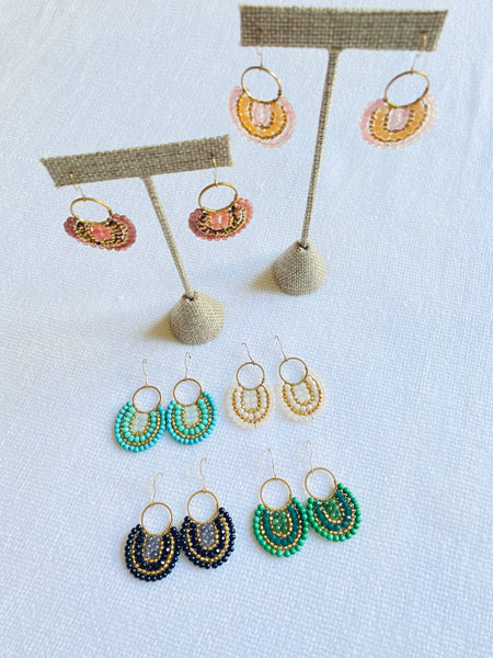 Hand-wired Drop Hoop Earrings