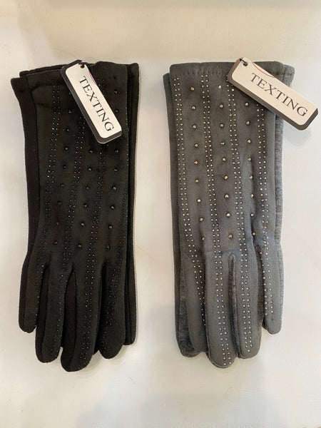 Texting Gloves w/ Rhinestone Accents