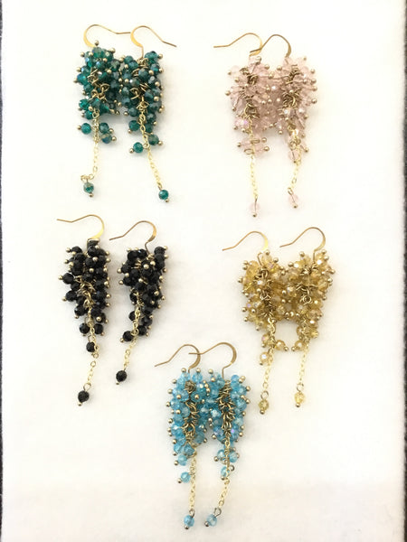 Crystal Dangle Cluster Earrings