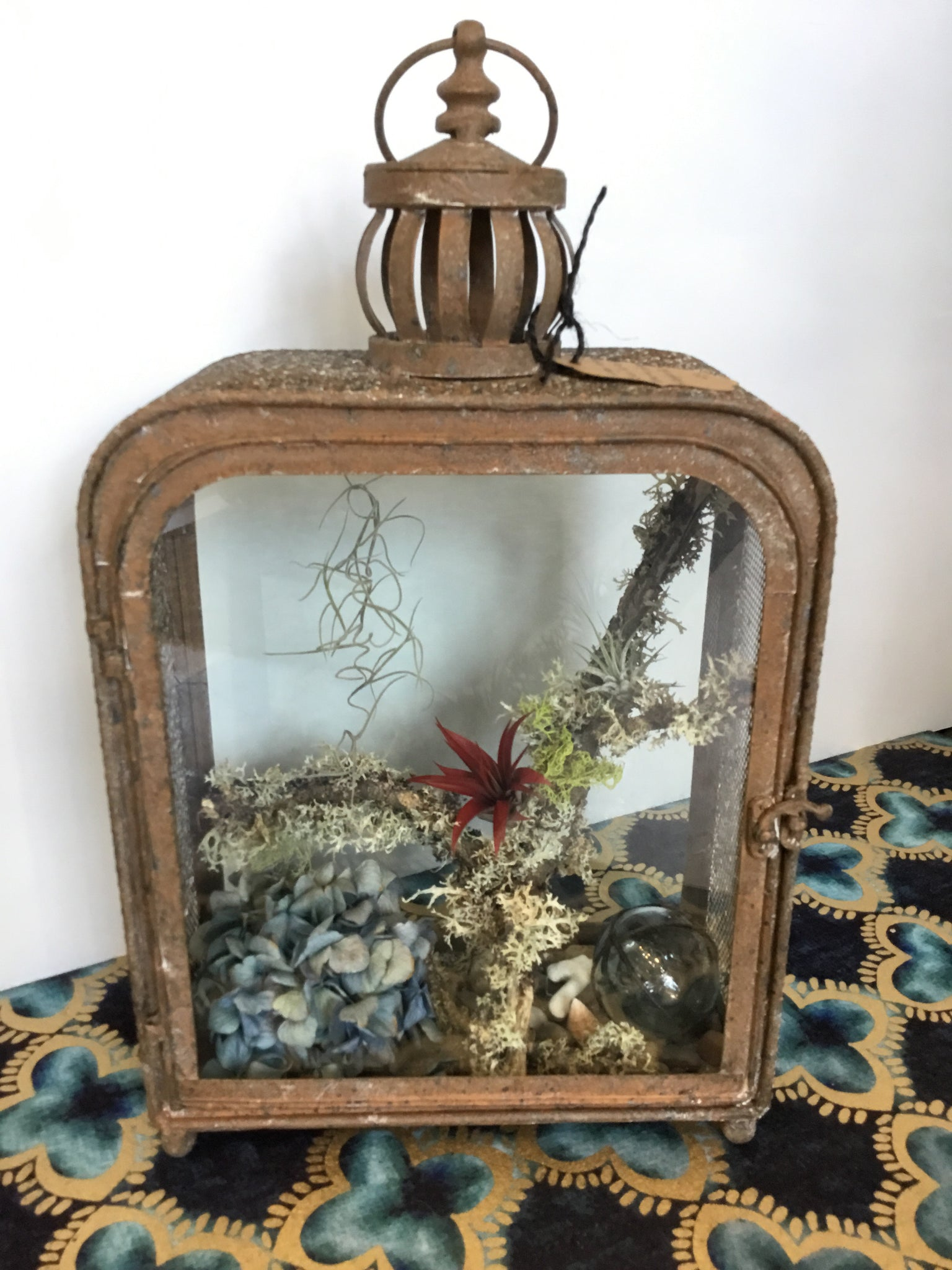 Large antique finish air plant terrarium/ lantern