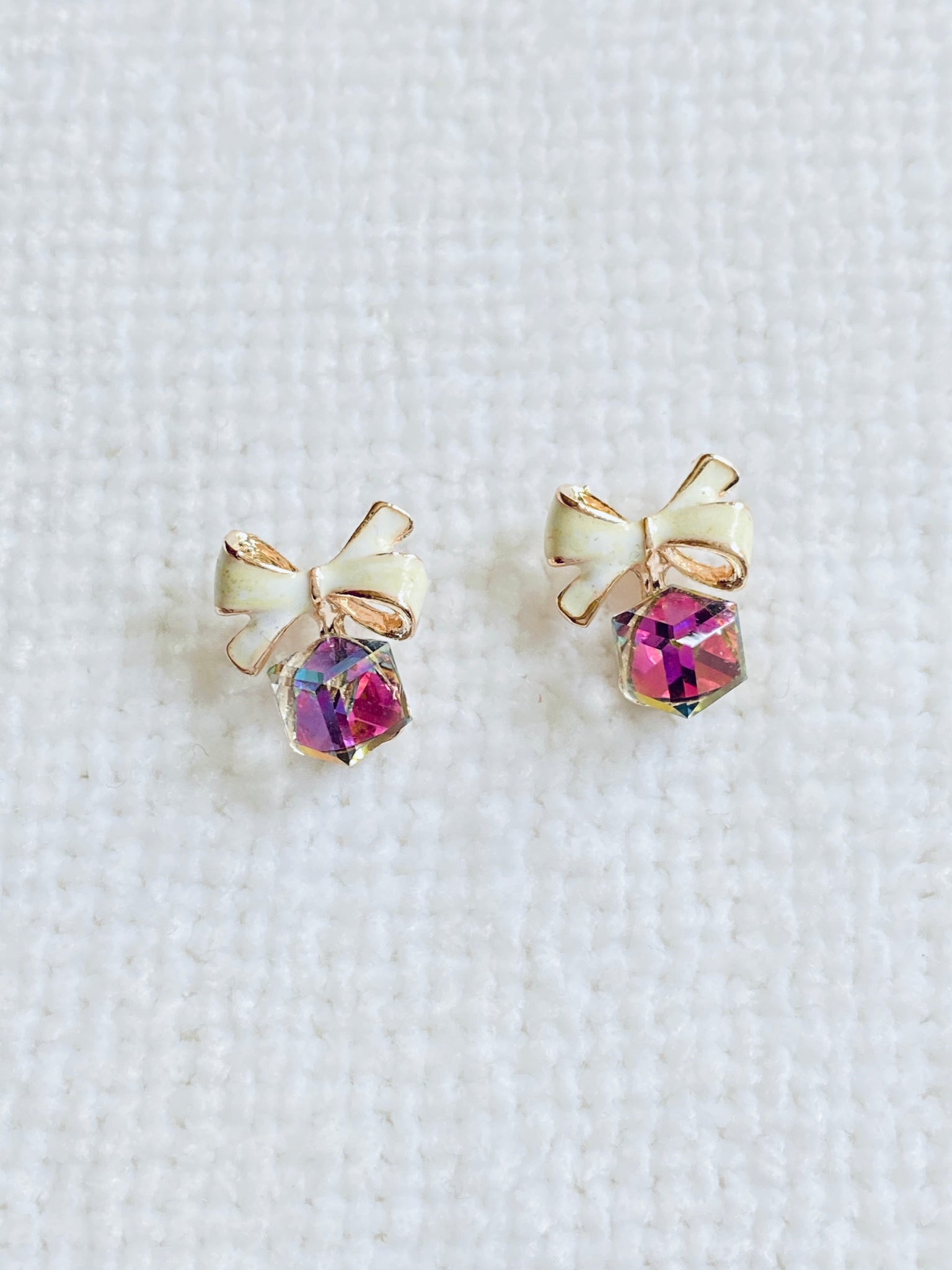 Ribbon Bow with Cubic Zirconia Stud Earrings