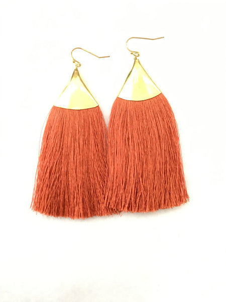 Long silk tassel earrings with brass ear wires