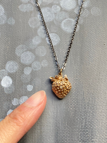 Hand Cast Bronze Strawberry Necklace