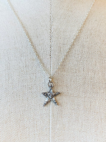StarFish Shape with Heart Center Charm on Sterling Silver Necklace