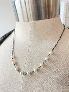 Oxzidized Sterling Silver Chain with Freshwater Pearl Necklace