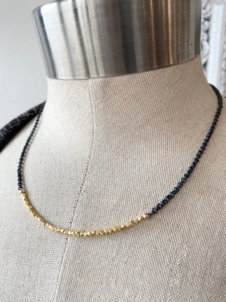 Oxzidized Sterling Silver Chain with Gold Beads Necklace