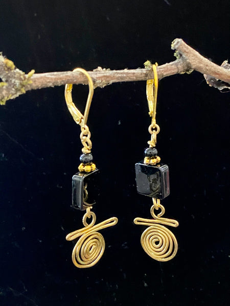 Swirl Wire Hand Wrapped Gold with Onxy Earrings Made in PDX