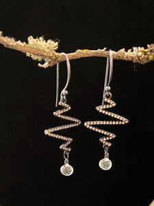 Crystal ZigZag Long Earrings with Quartz Drop Made in PDX