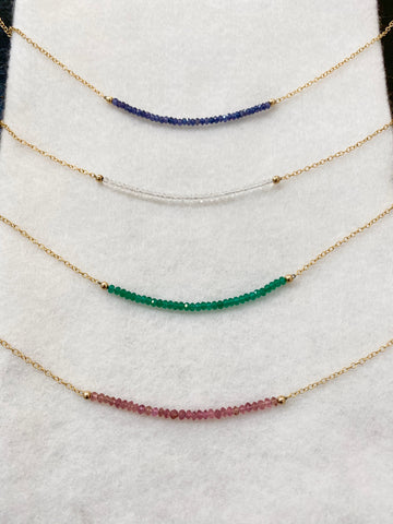 Preciously Gem Bead Necklace on Gold Chain Hand Crafted in PDX