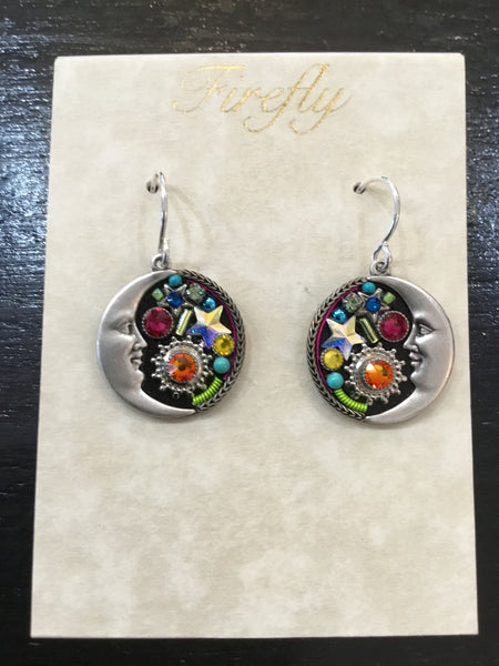 Midnight Moon Mosaic Crystal Earrings