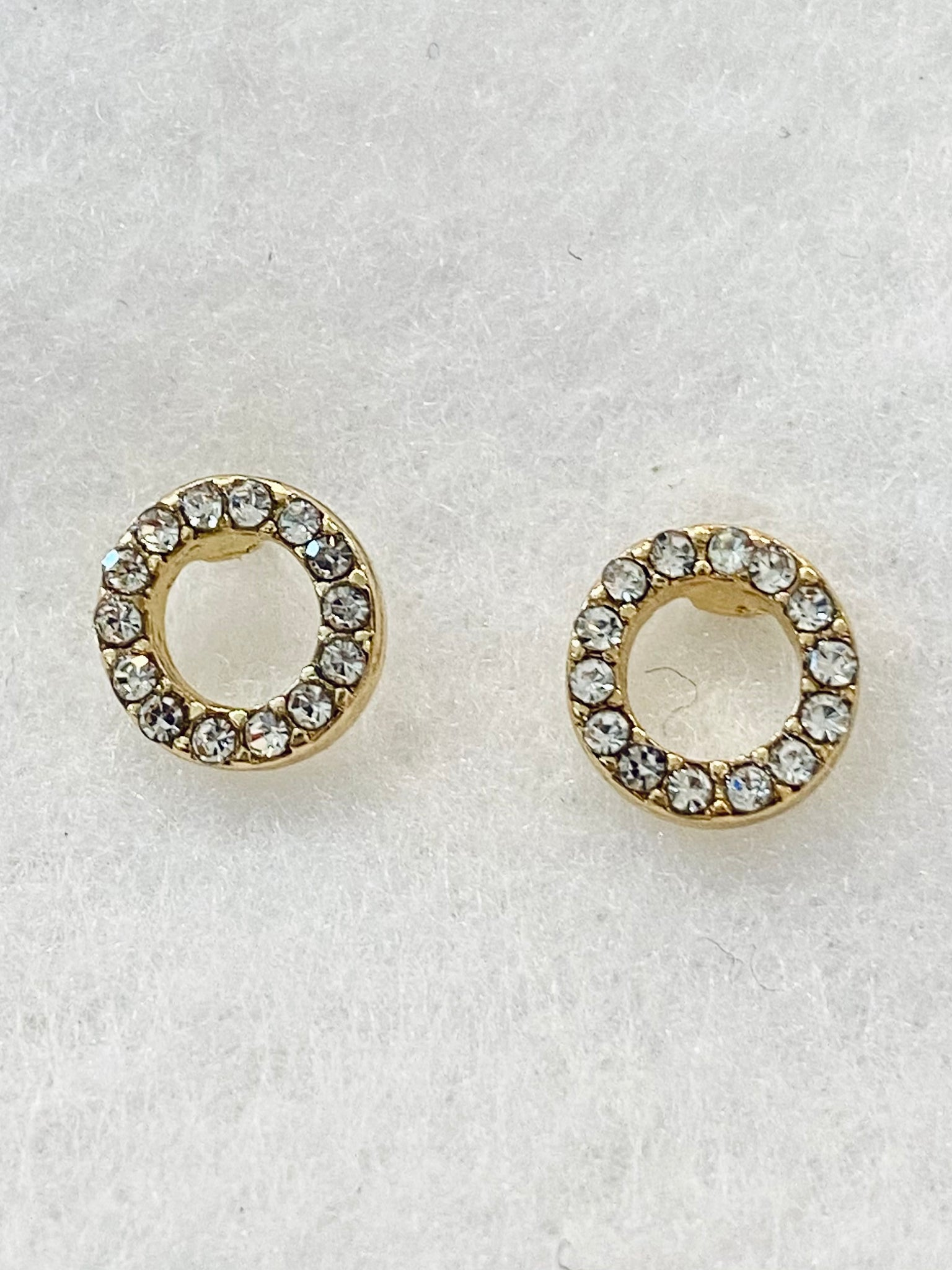 Classic Open Circle W/ Cubic Zirconia Accent Stud Earrings