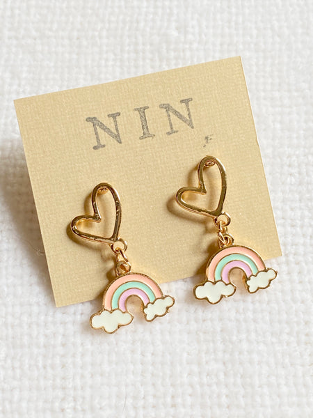 Dangle Rainbow with Heart Post Earrings
