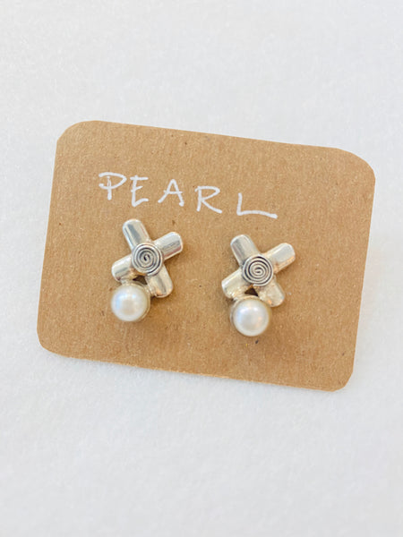 Fun Sterling Silver Design with Pearl Post Earrings