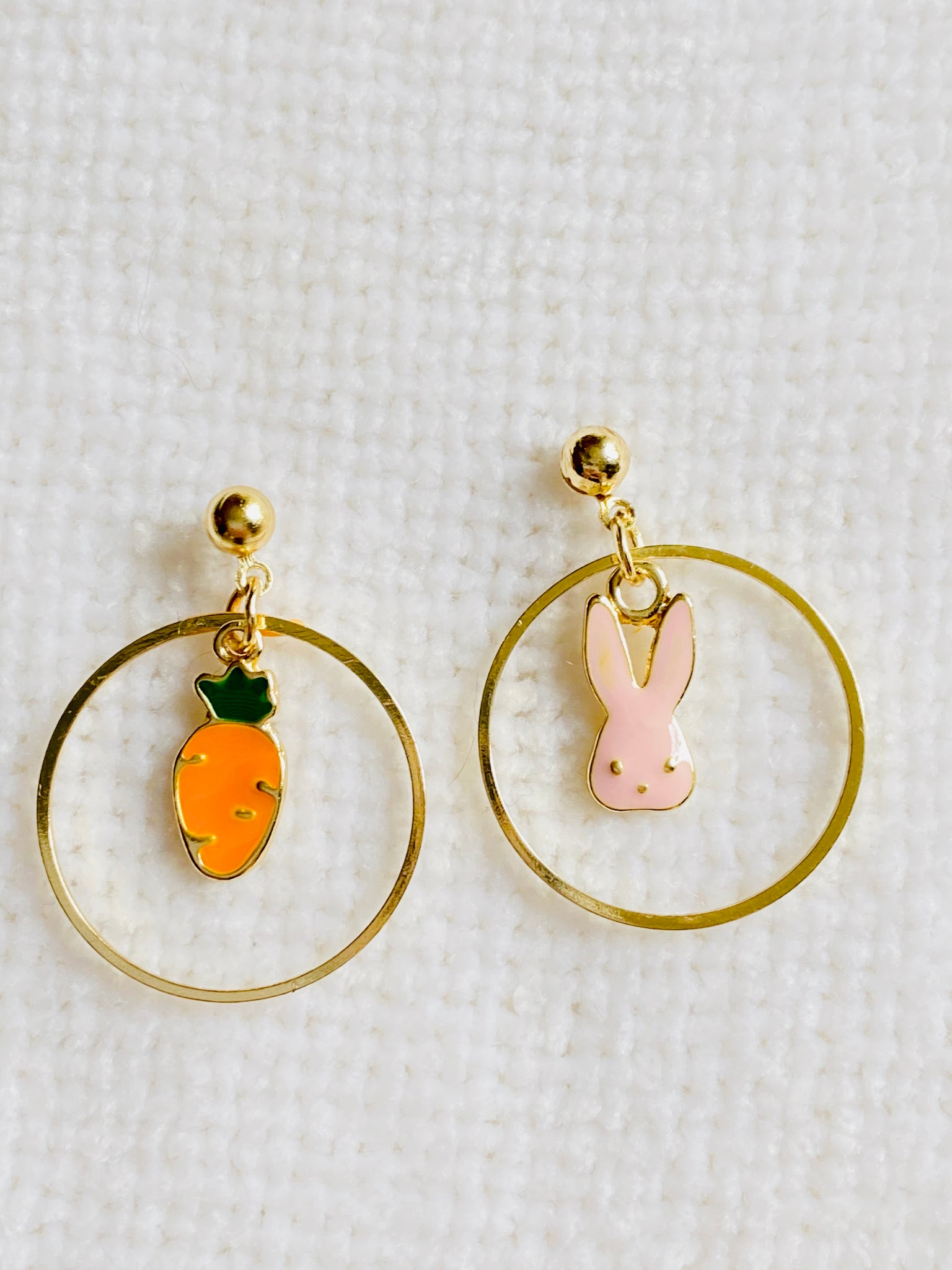 Mismatched Bunny Rabbits and Carrot Post Earrings over hoop
