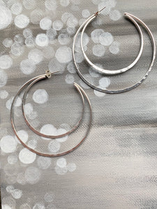 Crescent Moon Hammered Hoop Stud Earrings
