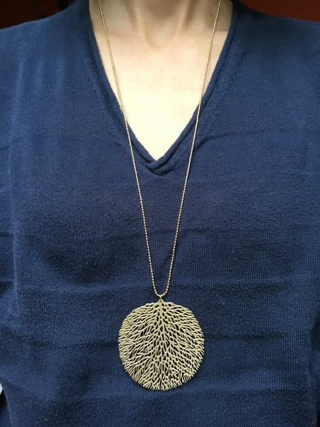 Large Barrier Reef Pendant with Long Ball Chain Necklace