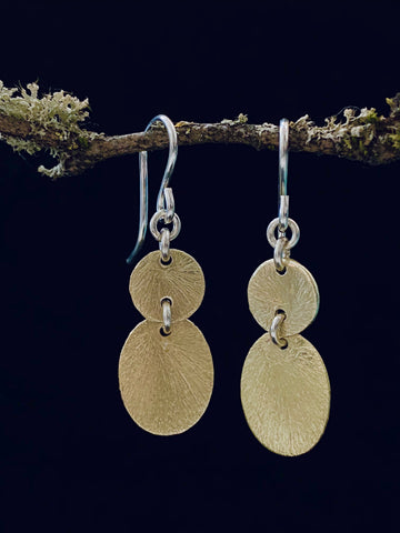 Double Gold Geometric Dangle Earrings Made in PDX