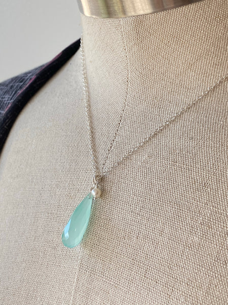 Long Drop Aqua Chalcedoney Pendant on Sterling Silver Necklace Made in PDX
