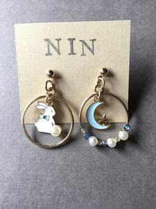 Mismatched Bunny Rabbit and Moon Post Earrings over hoop