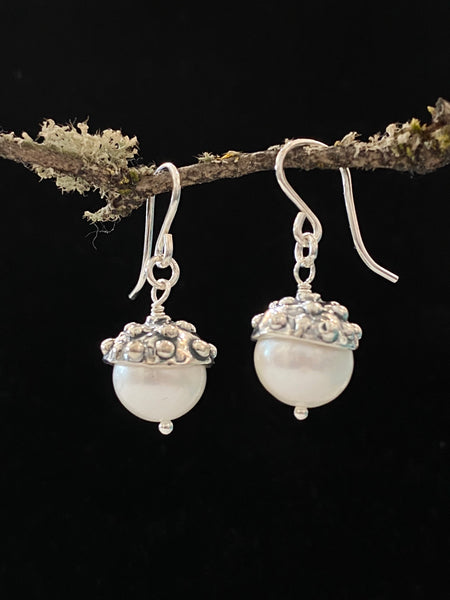 Freshwater Pearl with Silver Cap Drop Earrings Made in PDX
