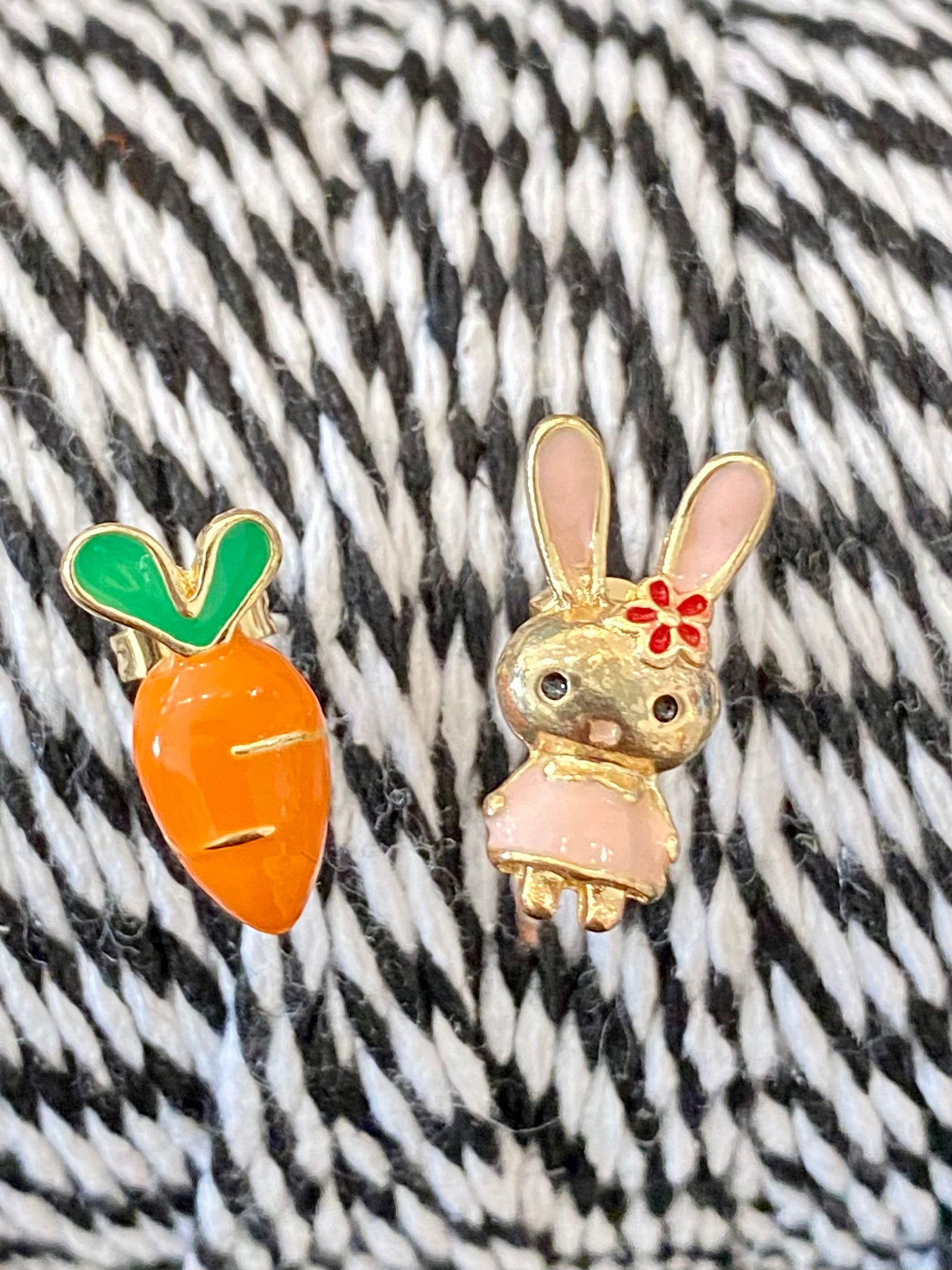 Bunny Rabbit and Carrot Post Earrings