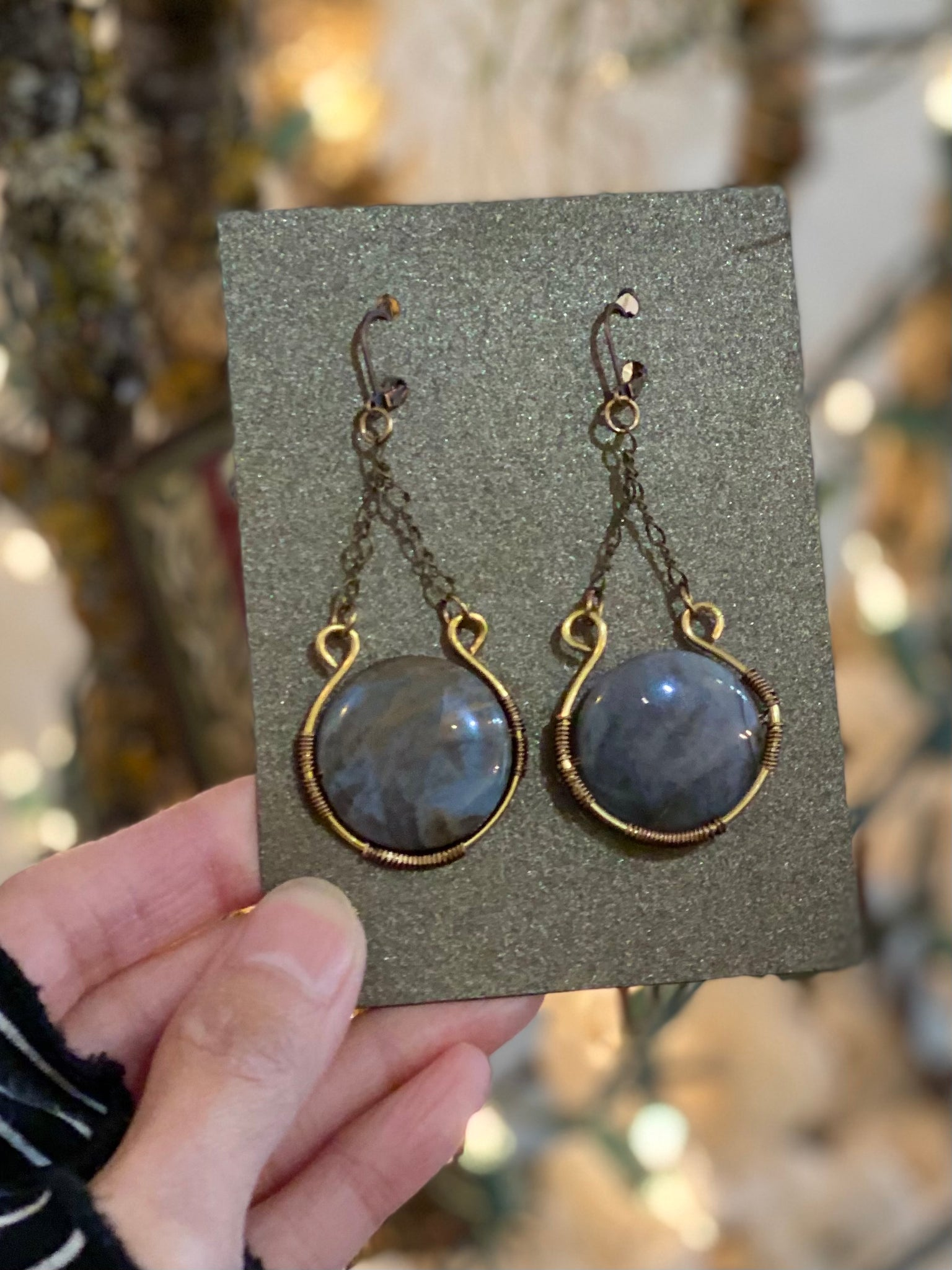 Handmade Agate Stone Wrap Long Earrings Made in PDX