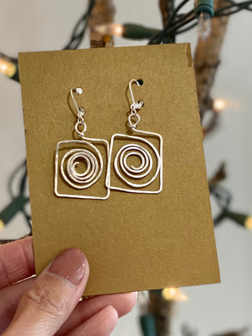 Hand Wired Silver Swirly Wrapped Earrings Made in PDX