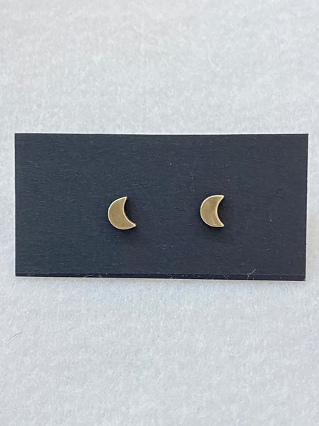 Dainty Moon Stud Earrings