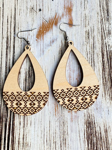 Beautiful Aztec Teardrop Wooden Earrings Handmade In USA